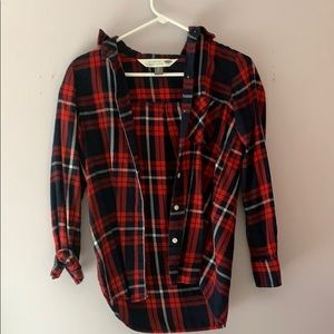 Old Navy Blue and Red Button Down Flannel